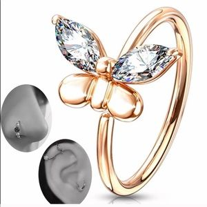 Accessories Rose Gold Butterfly Nose Ring Poshmark